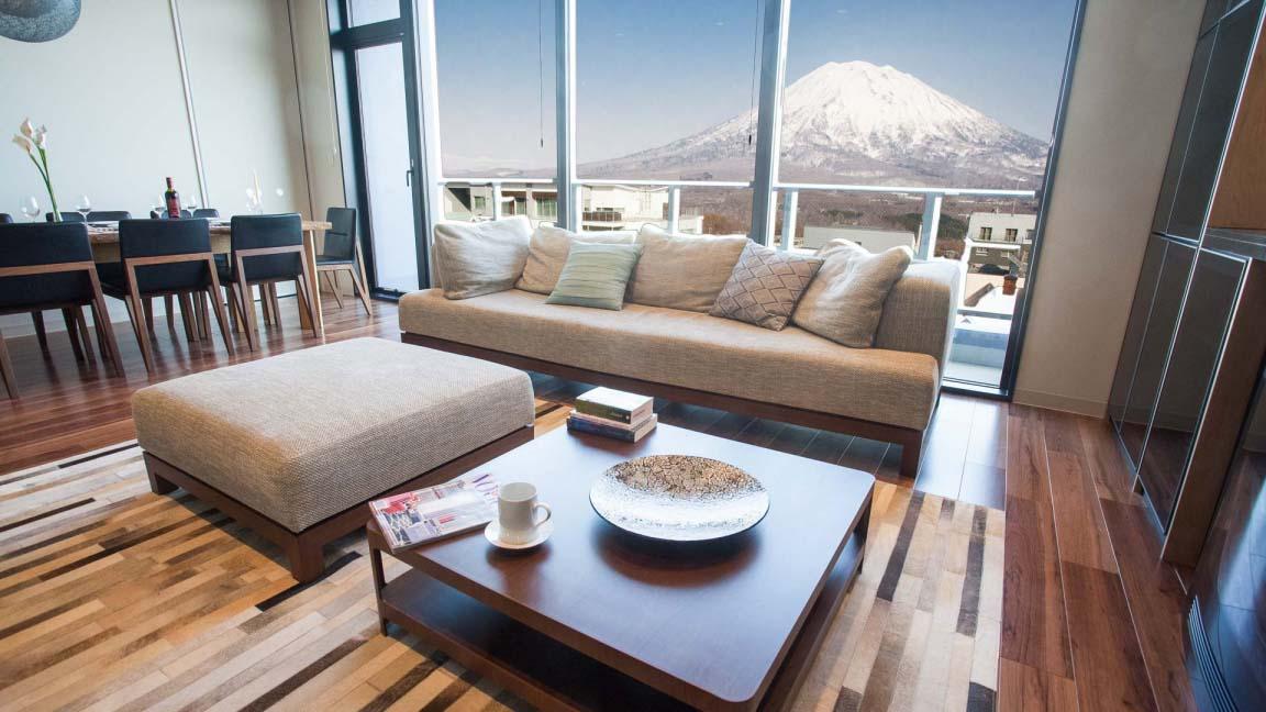 3 bedroom PH – Living room Yotei view