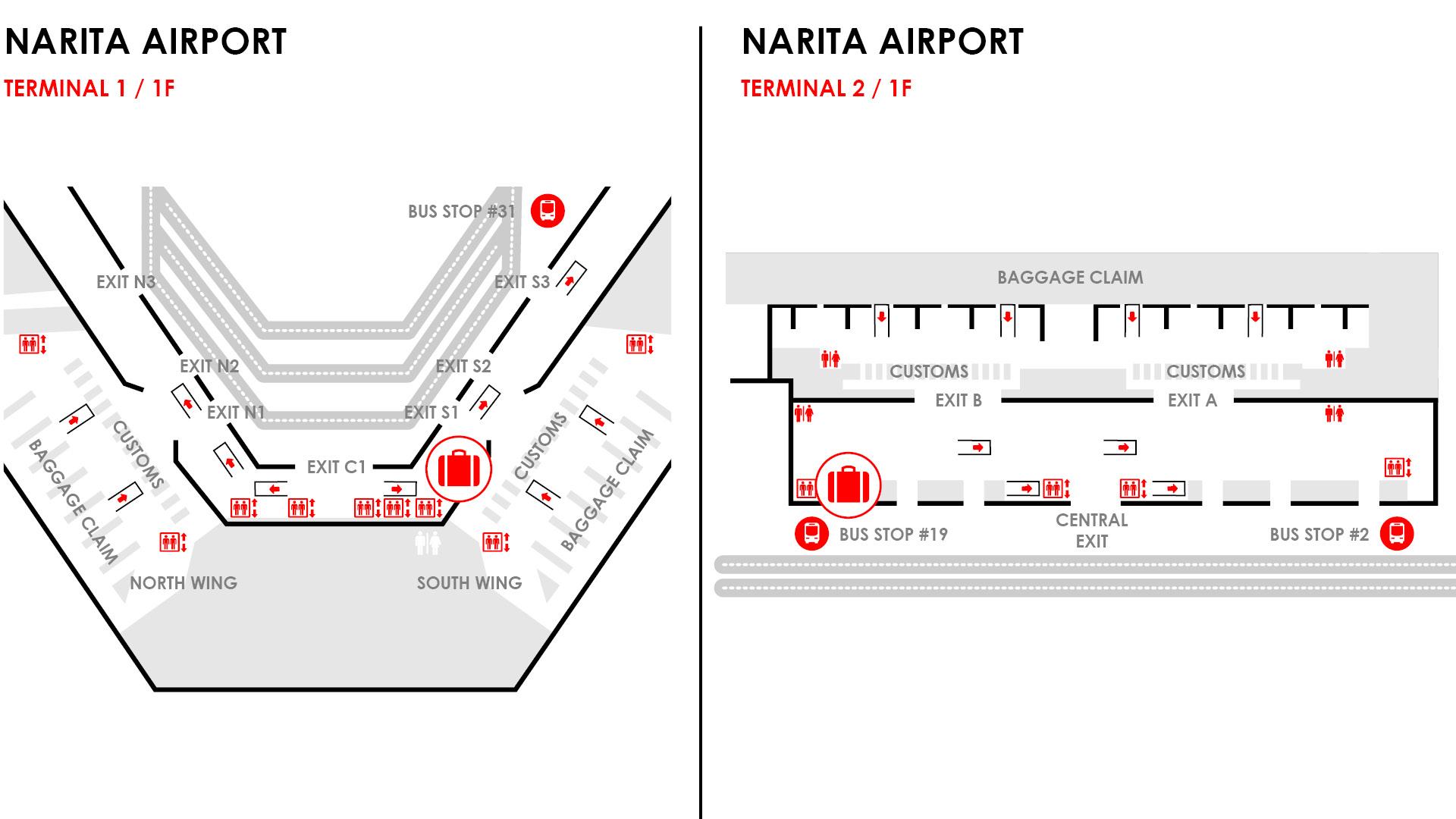 NARITA baggage map tokyo airport
